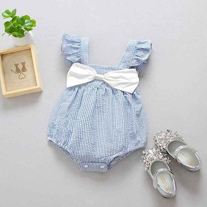 Amazon.com: Jarsh Toddler Baby Girls Sleeveless Bowknot Romper ...