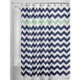 "InterDesign Chevron Soft Fabric Shower Curtain, 72"" x 72"", Navy/Mint"