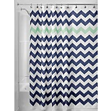 InterDesign Chevron Soft Fabric Shower Curtain, 72x72-Inch, Navy and Mint