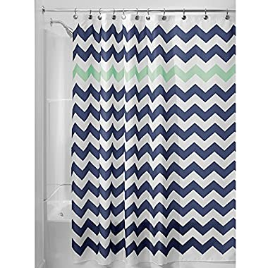 InterDesign Chevron Soft Fabric Shower Curtain, 72  x 72 , Navy/Mint