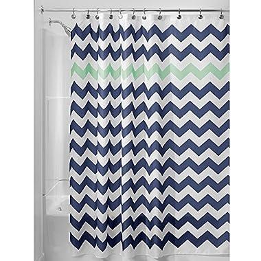 InterDesign Chevron Soft Fabric Shower Curtain, 72  x 72 , Navy/Mint