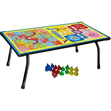 Varshine 2 In 1 Kids Board Game Table Ludo, Snake U0026 Ladder Support Table And