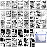36PCs Letter and Number Stencils DIY Drawing Templates Bullet Journal Stencils with A Storage Bag for Notebook, Diary, Scrapbook
