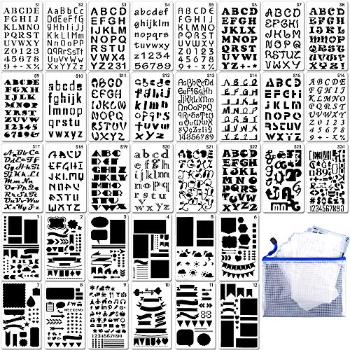 36PCs Letter and Number Stencils DIY Drawing Templates Bullet Journal Stencils with A Storage Bag for Notebook, Diary, Scrapbook by Augshy