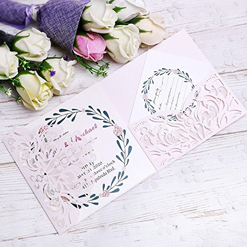 PONATIA 20 PCS Laser Cut 3 Folds Invitation Cards for Wedding Invitations Birthday Engagement Greeting Invitations Cards Use+ Free Envelopes+ Free RSVP Cards (Light Pink)