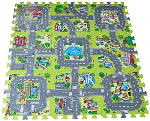 M-BZY 9pcs Alfombra Para Bebé Niños Rompecabezas Tipo Puzzle Diseño de Ciudad Tamaño 30×30×1cm