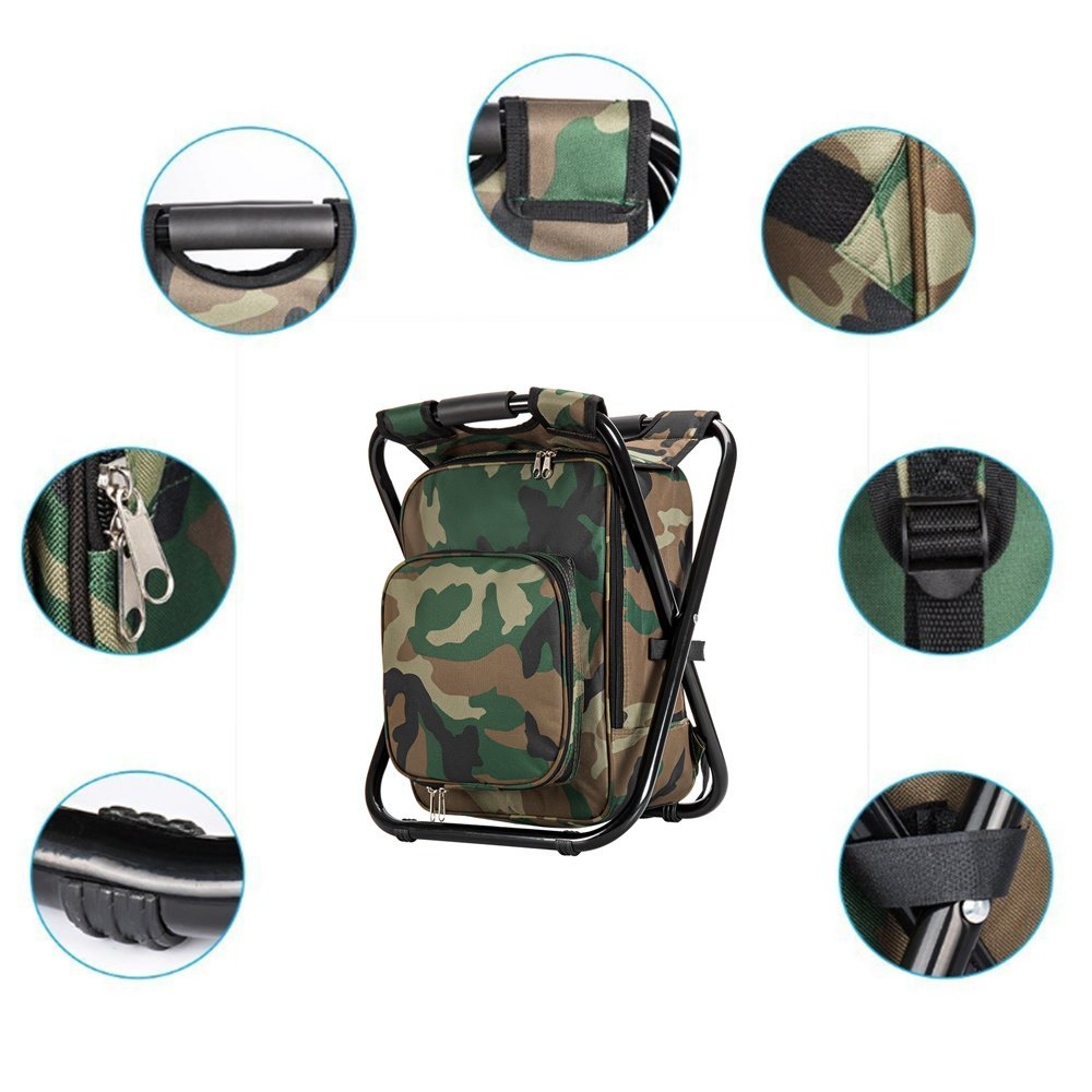 Upgrade Large Size Ultralight Backpack Cooler Chair, Portable Folding Camping Chair Stool Backpack with Cooler Insulated Picnic Bag, Hiking Camouflage Fishing Backpack Chair, Perfect for Beach BBQ