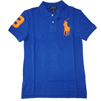 d4f02b332504 Ralph Lauren Boys  Polo Shirt Royal Blue Neon Orange with Big Pony Polo  Rider Logo 140-152 Medium (9-12 Years)  Amazon.co.uk  Baby