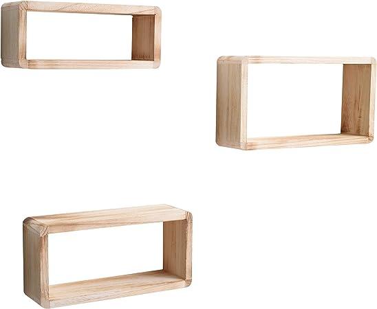 Set di 3 mensole moderne a rettangolo bianco shabby Mobili