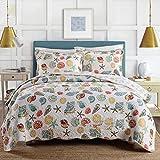 Beach Themed Comforter Sets DOUH Coral Ocean Bedding Quilt Set Queen Cotton 3 Pieces Bedspread Set Full Seashells Beach Theme Patchwork Quilt Comforter Set Queen Size 2 Pillow Shams
