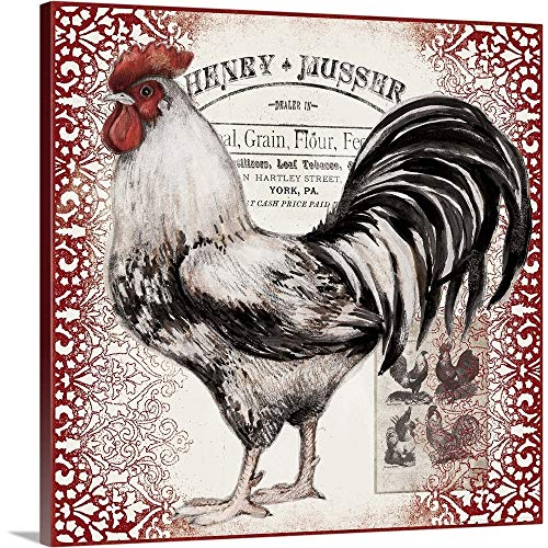 Gallery-Wrapped Canvas Entitled Black and White Rooster by Susan Winget 35