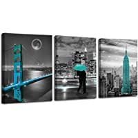 """Ardemy Canvas Wall Art Cityscape Teal Painting Golden Gate Bridge New York City Pictures, 12""""x16"""" x3 Panels Modern…"""