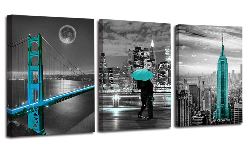"Ardemy Canvas Wall Art Cityscape Teal Painting Golden Gate Bridge New York City Pictures, 12""x16"" x3 Panels Modern Romantic Artwork Framed for Bedroom Living Room Kitchen Wall Decor"