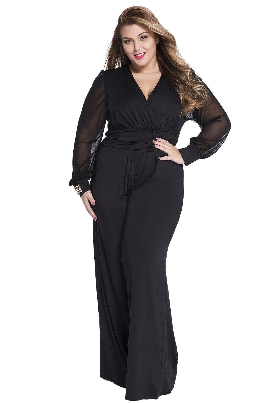5611fb87f57 Amazon.com  sisiyer Women s Long Mesh Sleeves Plunge V Neck Jumpsuit Black  XXX-Large  Clothing