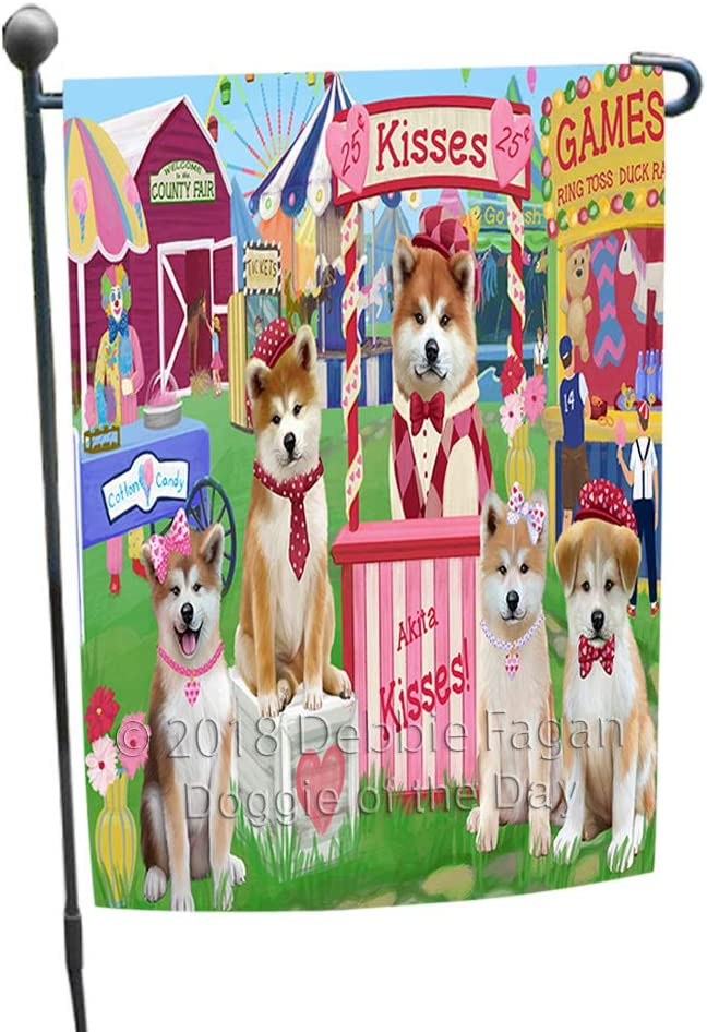 Doggie of the Day Carnival Kissing Booth Akitas Dog Garden Flag GFLG56319