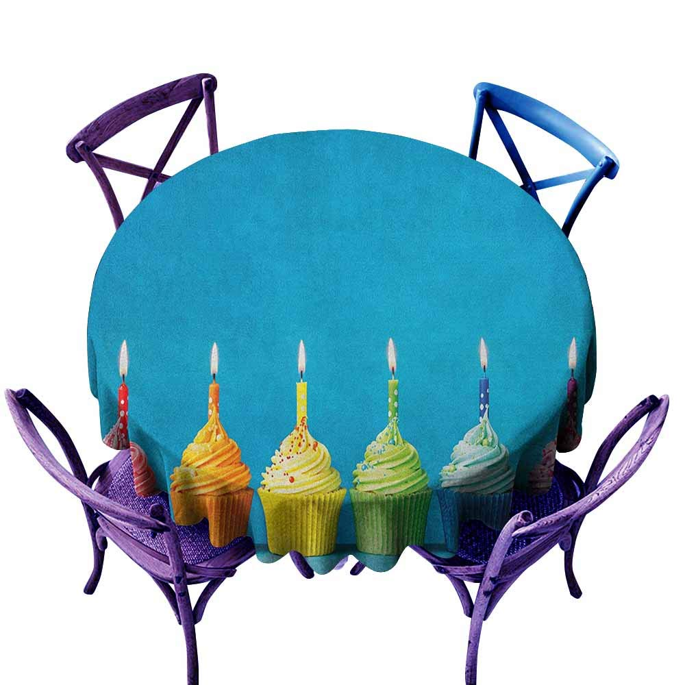 ONECUTE Anti-Fading Tablecloths,Birthday Cupcakes in Rainbow Colors with Candles Fun Homemade Party Food Sweet Delicious,Stain Resistant, Washable,60 INCH Multicolor