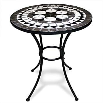 Mosaic Bistro Table With Powder Coated Steel Base Outdoor Round Garden  Balcony Tables Black White