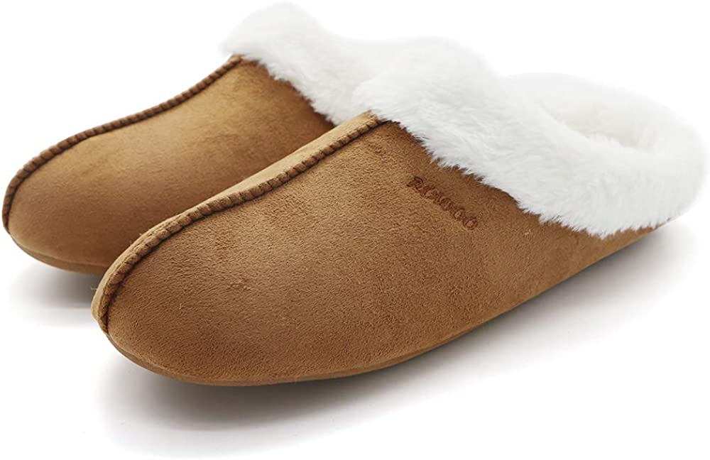 Men's Memory Foam Slippers Lightweight Fuzzy Plush Slip on Indoor Home Shoes