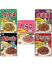 Furikake japansk strössel för Bento-ris, blandade smaker - Noritama, Ajidouraku, Katsuo, Sukiyaki, Tarako - 5 smaker - Tillverkad i Japan