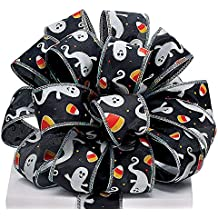 Halloween Ghost and Candy Corn Black Satin #9 Ribbon