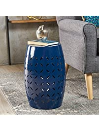 Joyce Lace Cut Dark Blue Iron Accent Table