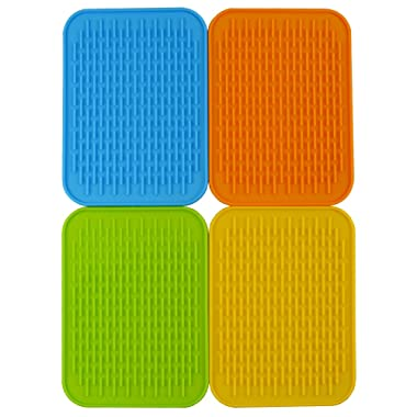 Baicfquk Hot Pads, 4-pack Silicone Pot Holder,trivet Mat, Non Slip, Flexible, Durable, Heat Resistant Hot Pads Perfect Modern Home Decor Silicone Heat Resistant Insulation Mat, Tableware Insulation Pad Potholders Insulation Non-slip Mat Square (6.2 x8.5 )