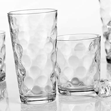 Home Essentials Galaxy Glassware Set (Clear, Set of 16-8 17 OZ & 8 13 OZ), Clear