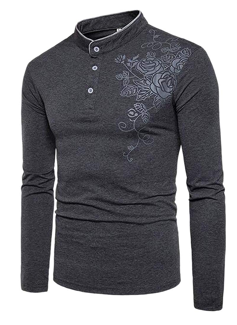 WSPLYSPJY Men Students Stylish Printing Long Sleeve Pullover Classic T Shirts