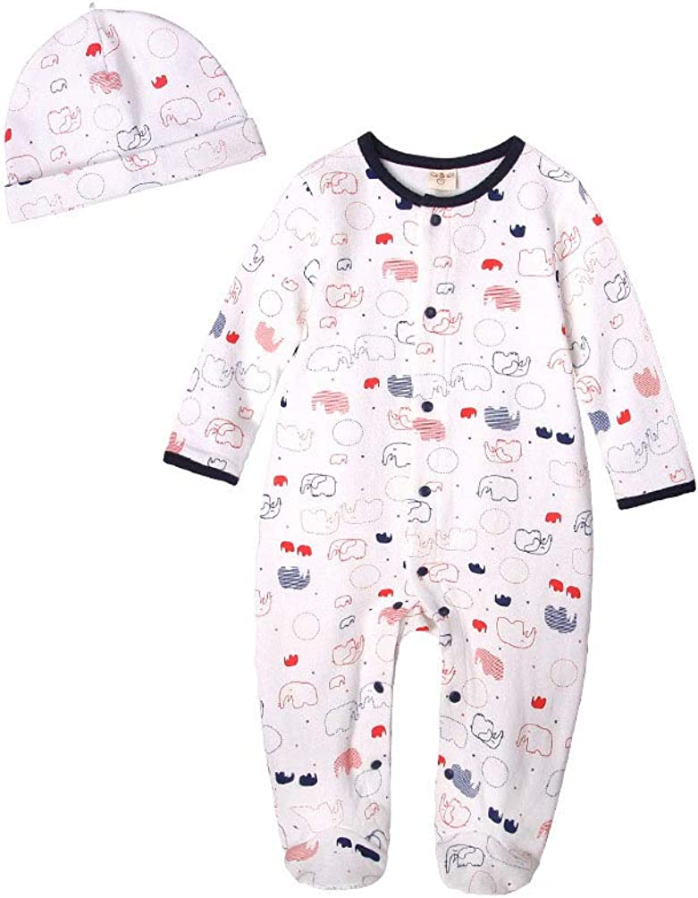 100/% Cotton Binghang Unisex Baby Romper and Hat Set One Piece Jumpsuit and Beanie Set