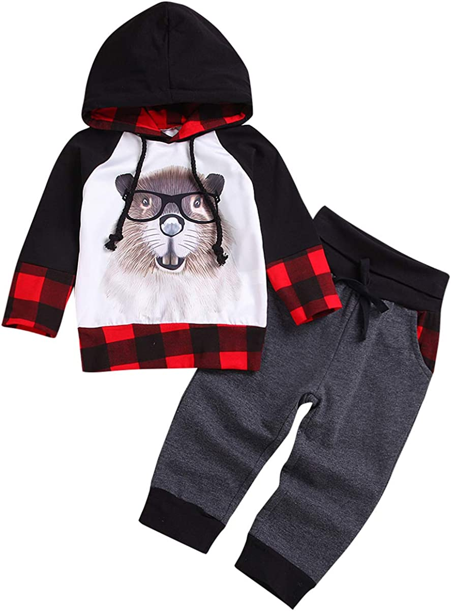 Toddler Kid Baby Boy/'s Sweatshirt Hoodie Plaid Top Pants Set Outfits Tracksuit