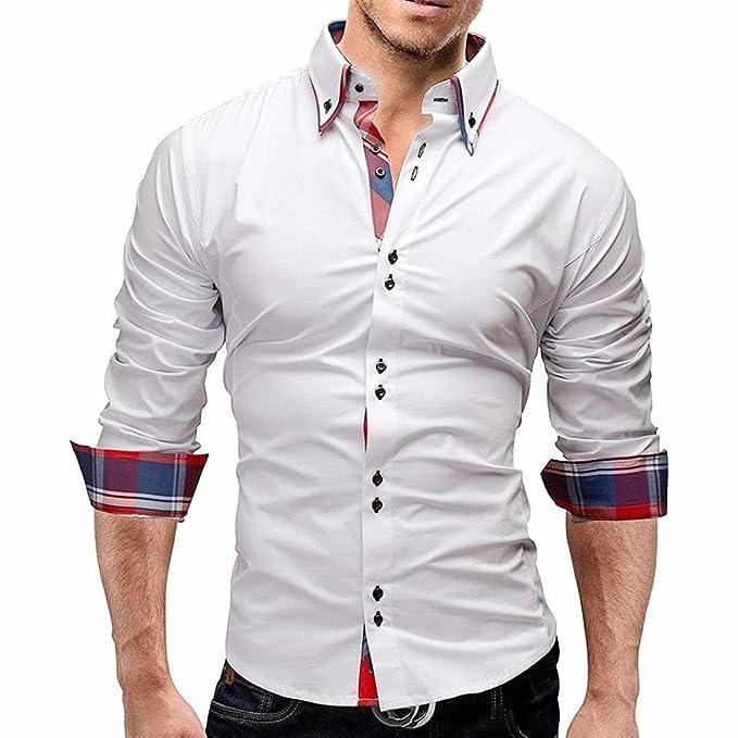 Yesmile Camisas Blusa Hombre Cuadros de los Hombres Camisa de los Hombres de Manga Larga Slim