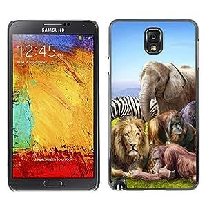 TopCaseStore / la caja del caucho duro de la cubierta de protección de la piel - African Animals Zoo Elephant Lion Zebra - Samsung Galaxy Note 3 N9000 N9002 N9005