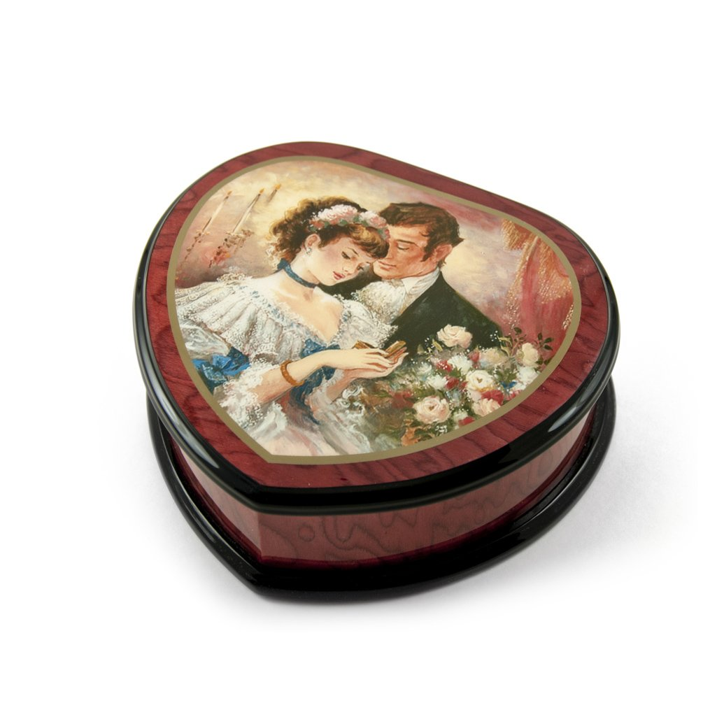 Romantic Heart Shape Painted Ercolano Music Box Titled - A Token of Love by Brenda Burke - Scarsborough Fair