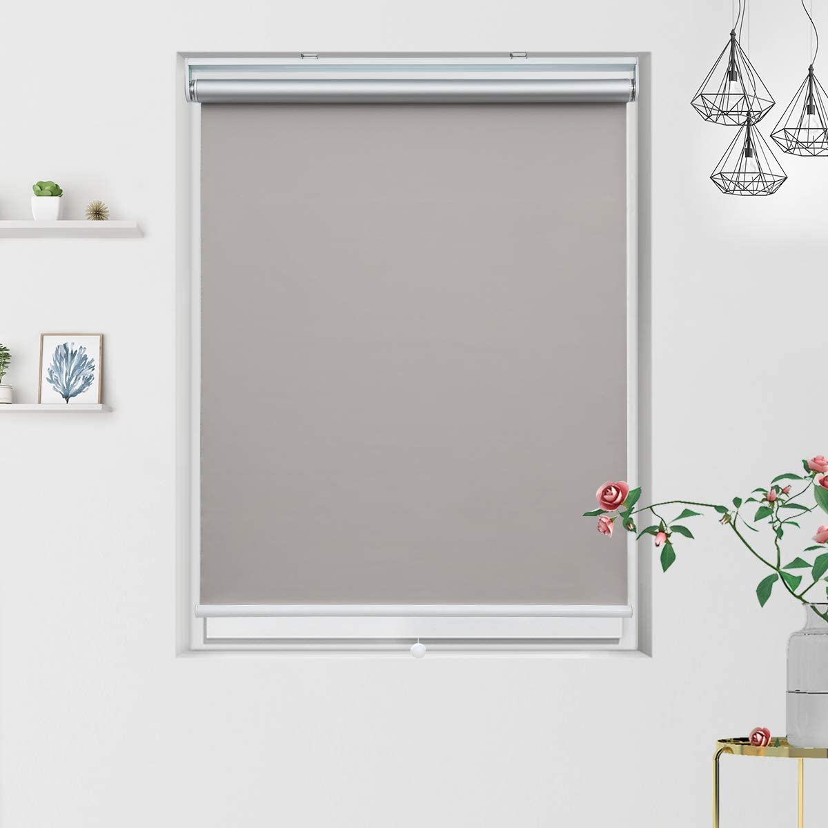 36 Window Blinds Blackout Roller Shade with Cordless Spring System, Thermal and Room Darkening for Window Indoor Use, 36 x 72 inch, Grey