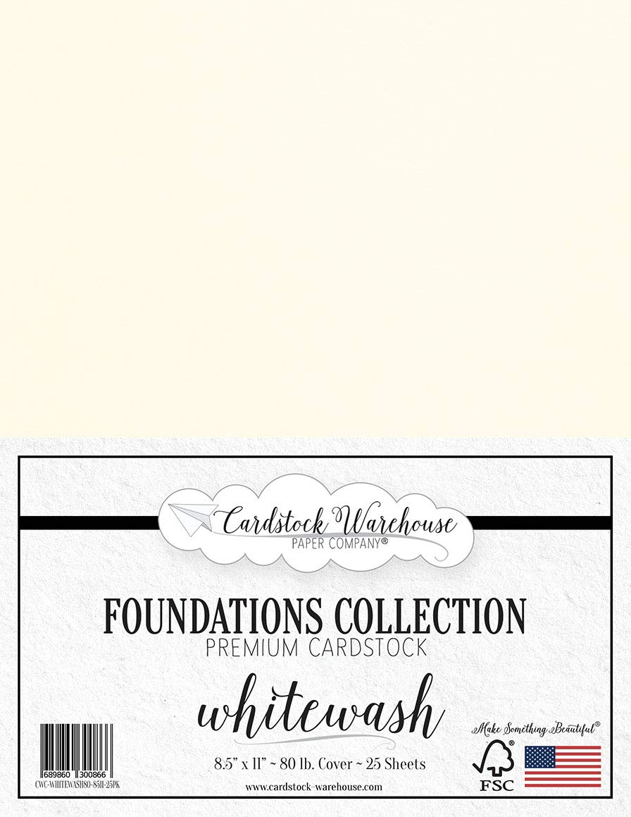 Whitewash White Cardstock Paper - 8.5 x 11 inch Premium 80 LB. Cover - 25 Sheets from Cardstock Warehouse
