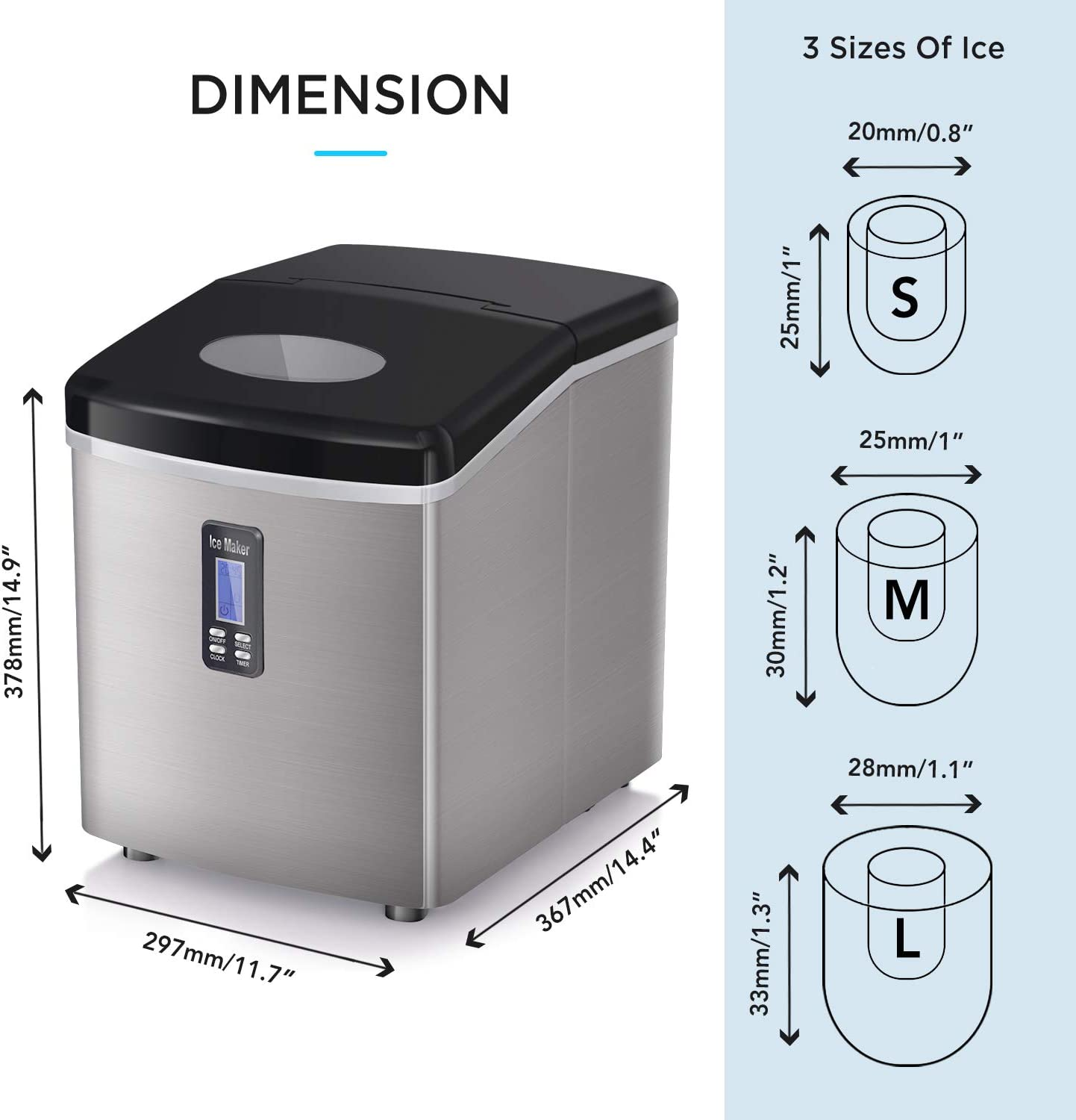 35lbs LCD ADT Ice Makers Countertop 35lbs//24h Portable Ice Maker