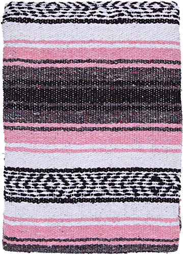 El Paso Designs Genuine Mexican Falsa Blanket - Yoga Studio Blanket, Colorful, Soft Woven Serape Imported from Mexico (Pink and Gray) (Pink Imported)