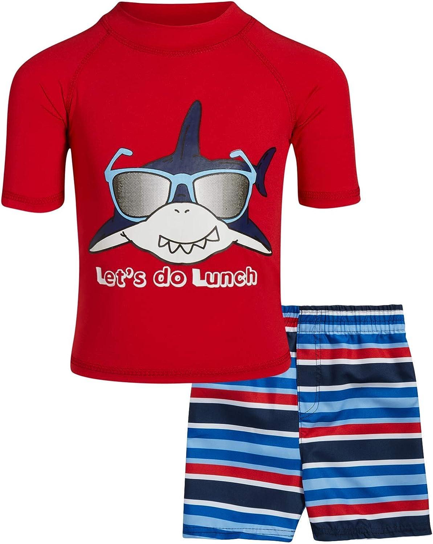Sweet /& Soft Boys UPF 50 Boys Short Sleeve 2 Piece Rash Guard /& Trunk Swimsuit Set Infant//Toddler//Big Kid