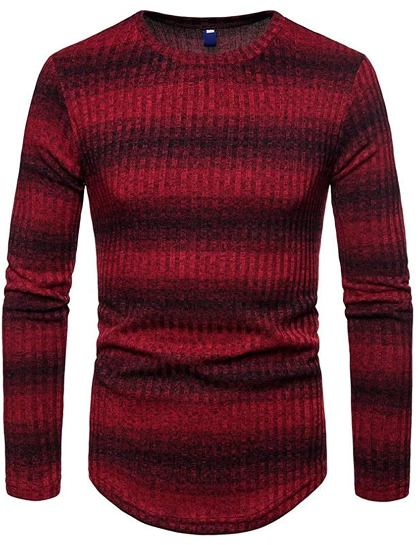 Pandapang Mens Curved Hem Stripe Knit Pullover Contrast Color Sweater Jumper