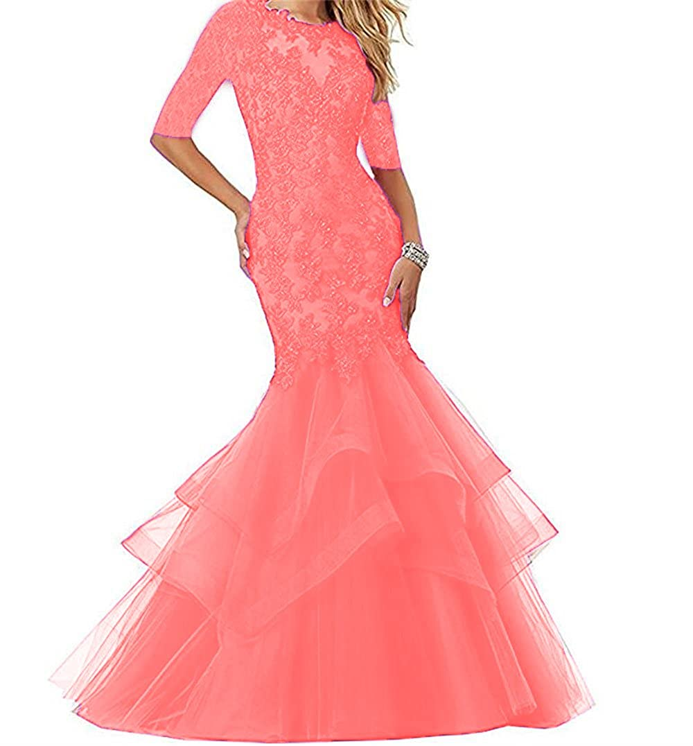 bluesh Dydsz Women's Long Prom Evening Dresses with Sleeves Mermaid Formal Party Gowns D265