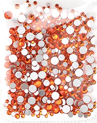 1728 pcs Rhinestones Flat Back Artificial Gems Round Glass Crystal 6 Mixed Sizes 1.6-3.2 mm for Nail Art Phone Stationary Card DIY Flatback Glass Glue Fix GreatDeal68 (Hyacinth) (Gem Hyacinth)