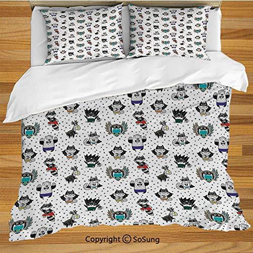 SoSung Superhero Queen Size Bedding Duvet Cover Set,Animal Owl Dear Fox Cat Penguin Raccoon Bear in Superhero Costumes Print Decorative 3 Piece Bedding Set with 2 Pillow Shams,White Seal -