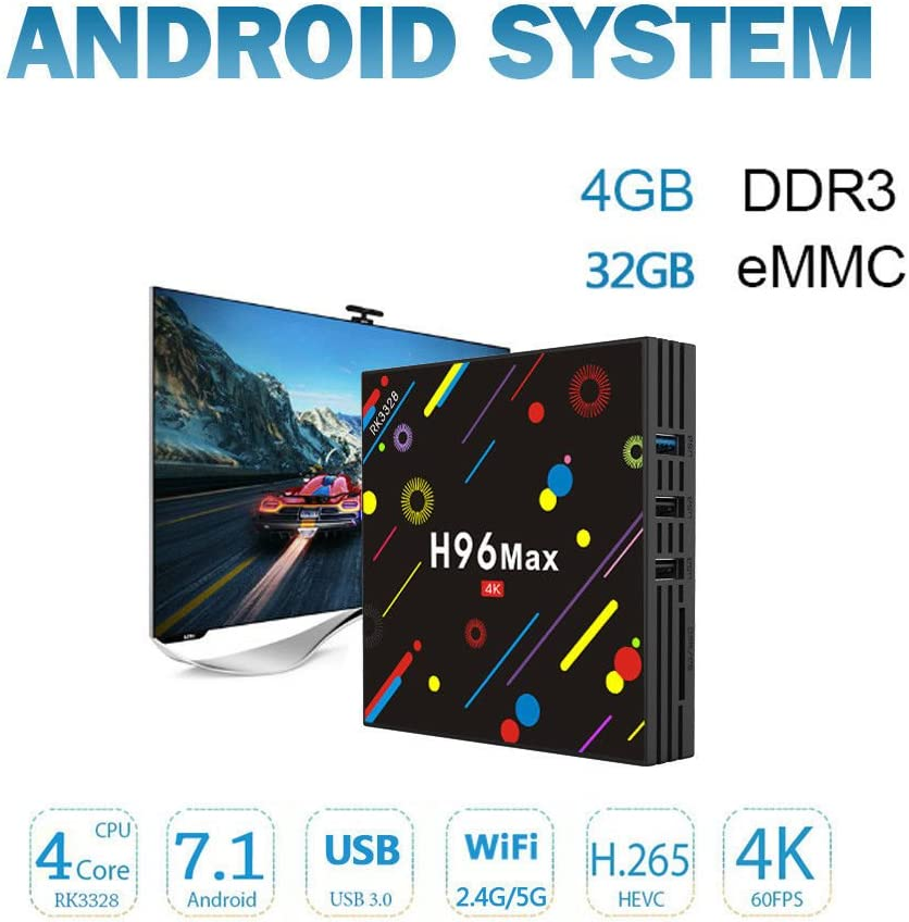 2019 TV Box, 4GB DDR4 32GB Yongf H96 Max Smart 4K TV Box Android 8.1.2 RK3328 Quad Core CPU WiFi Set Top Boxes Support 3D 4K Ultra HD TV