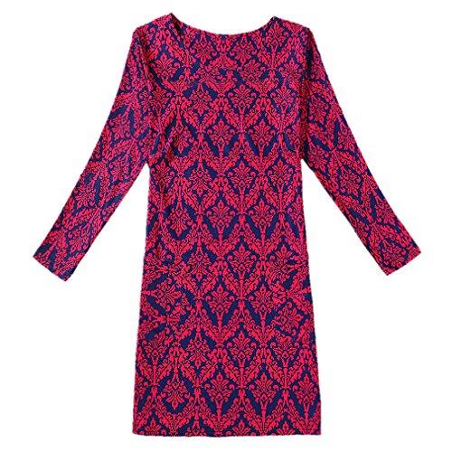 Mince Fit Slim Dress Rose Manches Rond genou Red Au Longue Honghu Regular Col Robe Femme HS0zZ