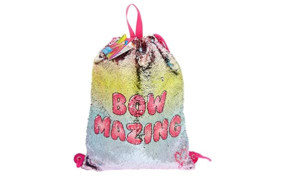 adf7ee4304cb4 Image Unavailable. Image not available for. Color  JoJo Siwa Bow Mazing Reverse  Sequin Drawstring Pink Backpack