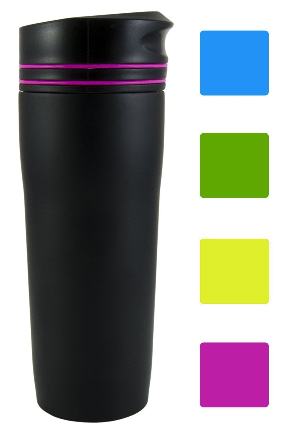 Premium Quality Black Matte Double Wall Vacuum Insulated Stainless Steel Travel Mug 100% Leakproof (380 ml, 13 oz) (Blue) EHoff