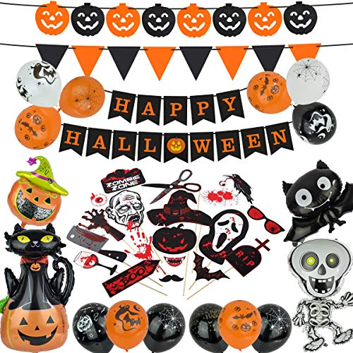 Halloween Decorations, 41pcs Halloween Party Supplies Include Happy Halloween Banner/Photo Booth Props/Foil Balloons/Latex Balloons Halloween Party Favors for Kids, Indoor, Outdoor Decor