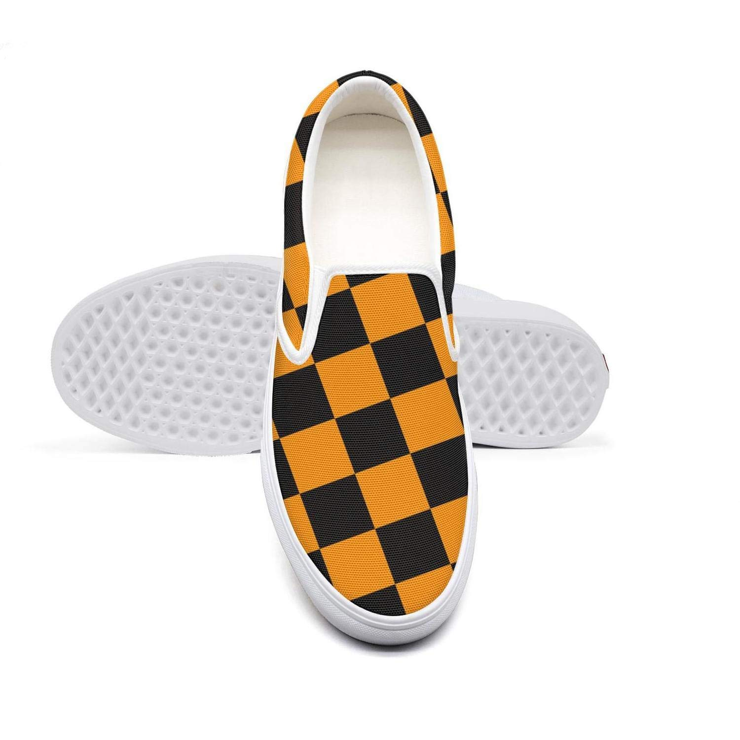 Black Orange Checkered Squares Womens Slip-on Loafer Fashion Sneaker Casual Flat Walking Shoes Canvas