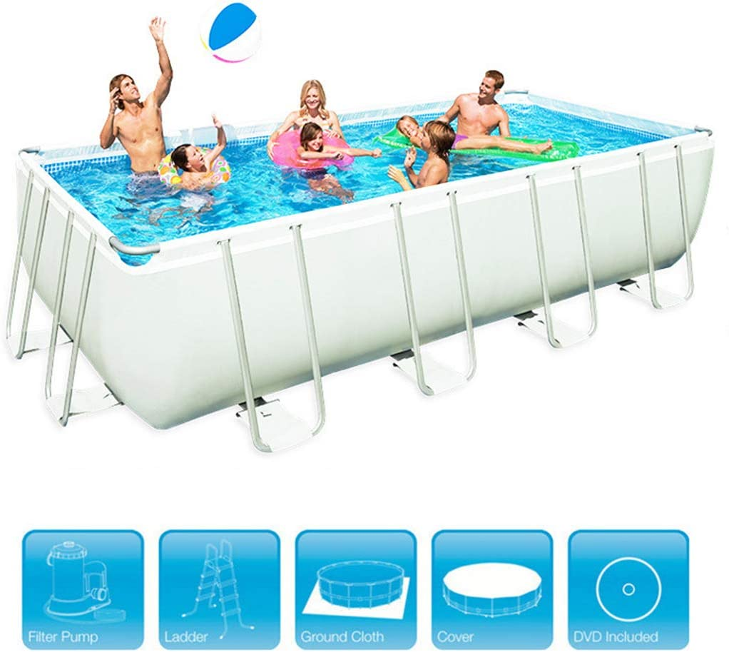 Rectangular Metal Frame Swimming Pool Swim Center Family Garden Outdoor Thicken Oversized Paddling Pools for Adults Kids Crystal Blue,Summer Water Party,4 2.01m 04m 1m