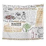 Emvency Tapestries Print 50x60 Inches Vintage Rome Italy Cheese Travel Pizza Hand Restaurant Made Sign Wall Hangings Home Decor